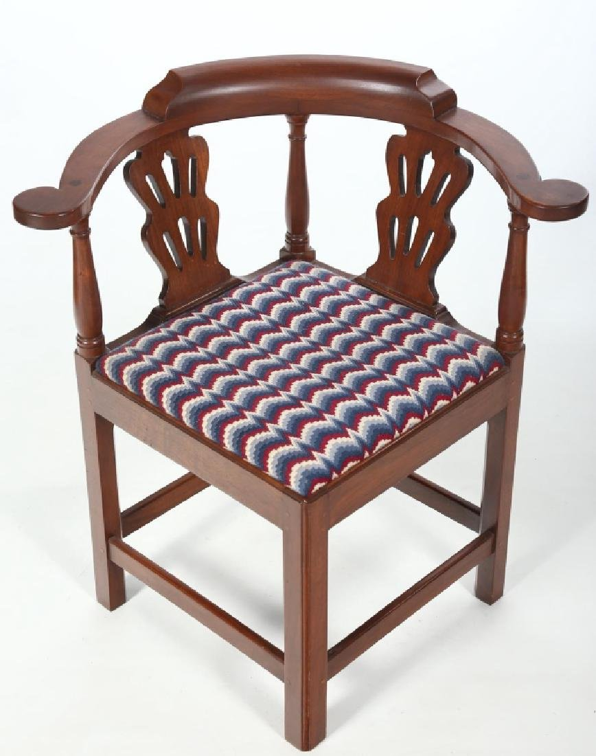 Chippendale Style Mahogany Bench Made Corner Chair