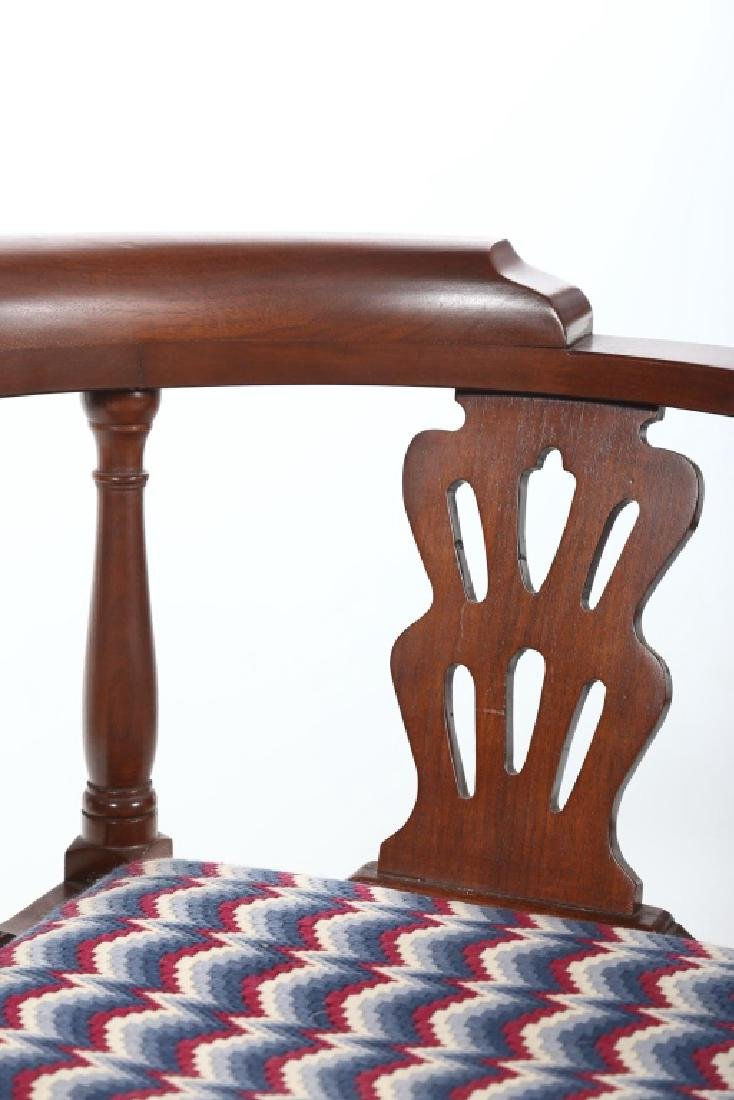 Chippendale Style Mahogany Bench Made Corner Chair - 2