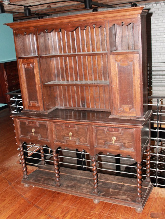 British Jacobean Style Oak Pewter Cupboard
