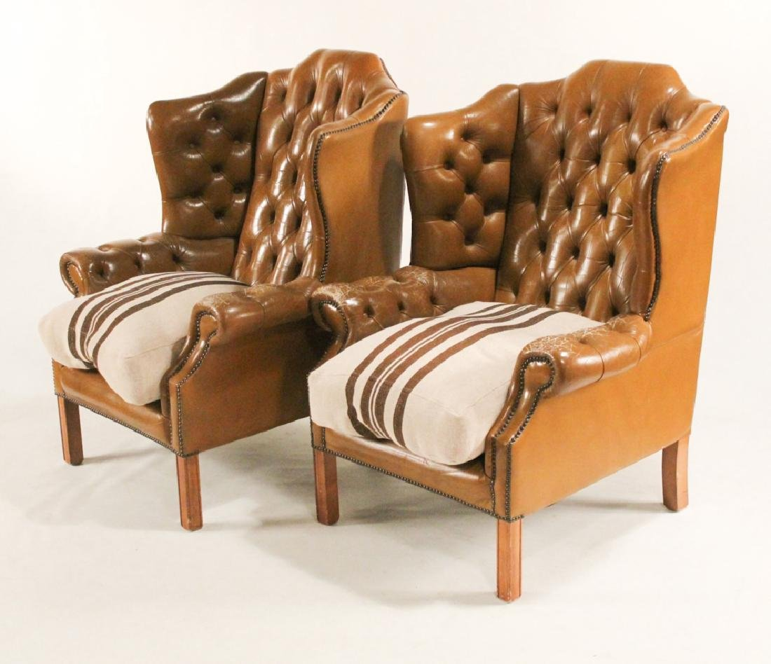 Good Pair Georgian Style Leather Wing Chairs