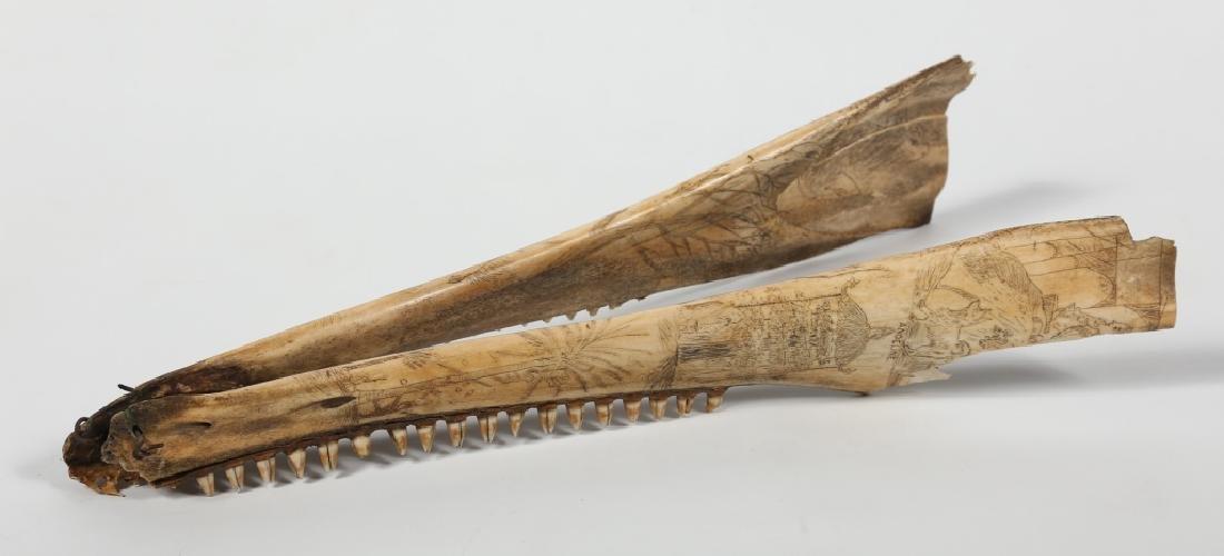 Fine Antique American Scrimshaw Carving on Bone