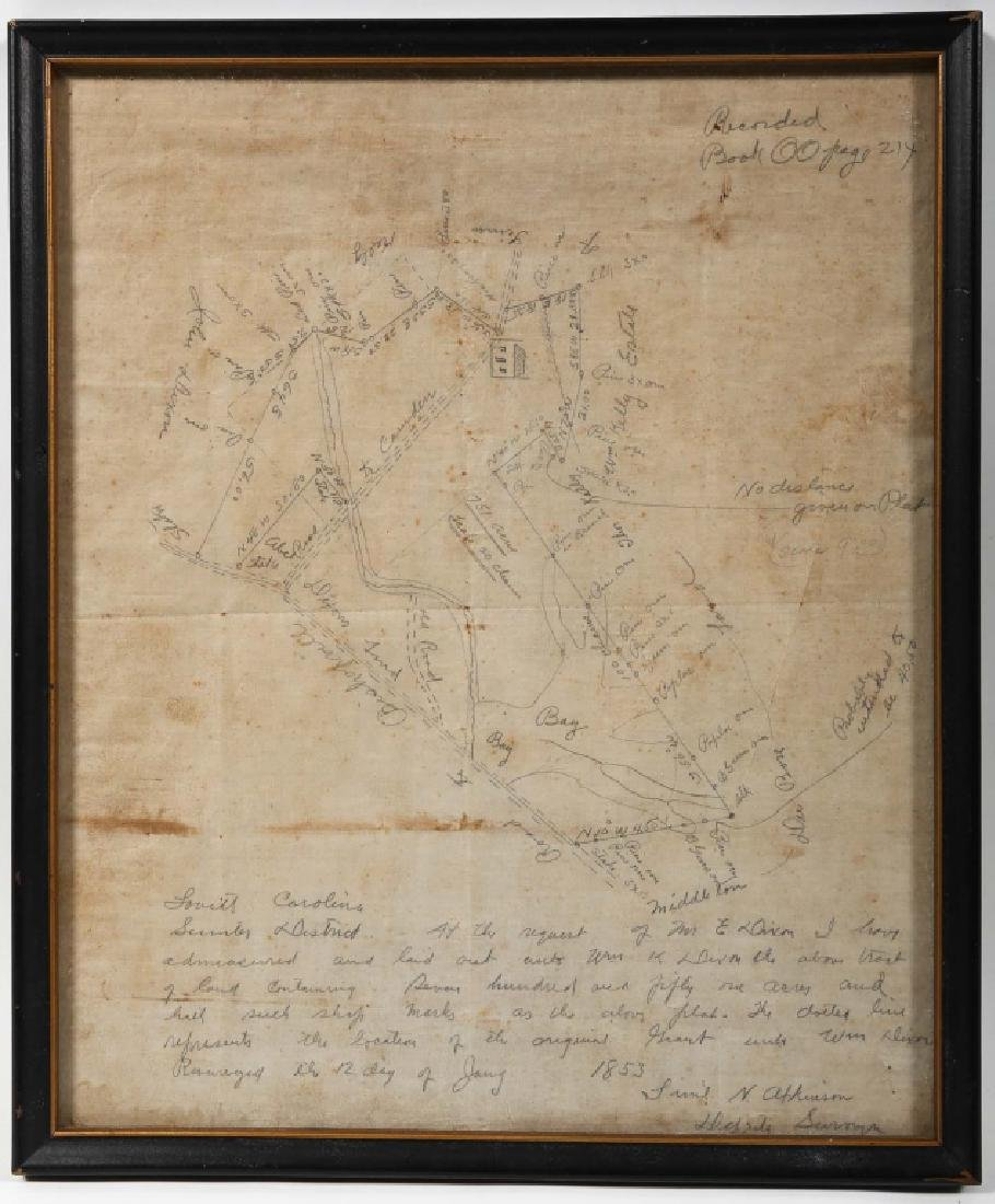 1853 Hand Drawn Map Sumter District South Carolina