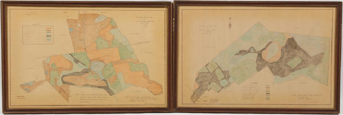 Two Vintage Hand Drawn Timber Crew Maps of Kershaw