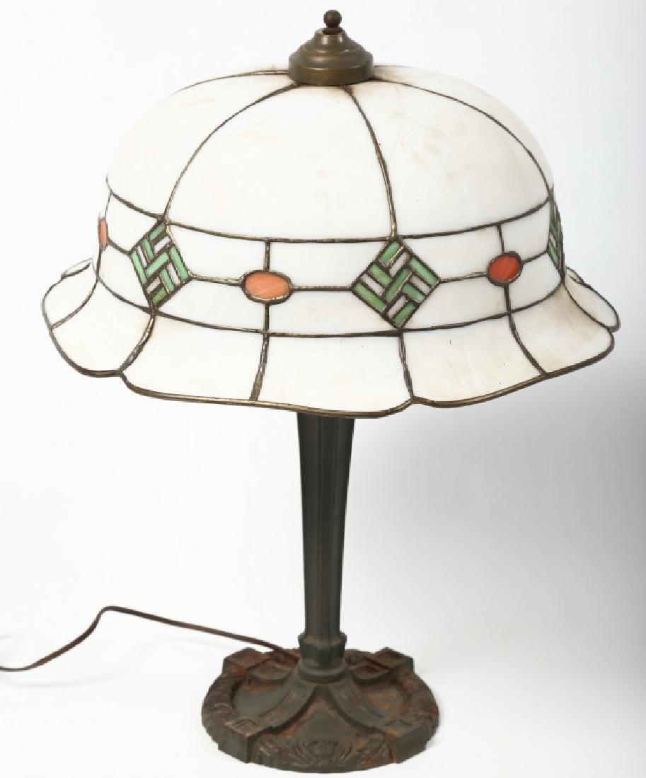Striking Arts & Crafts Leaded Glass Lamp