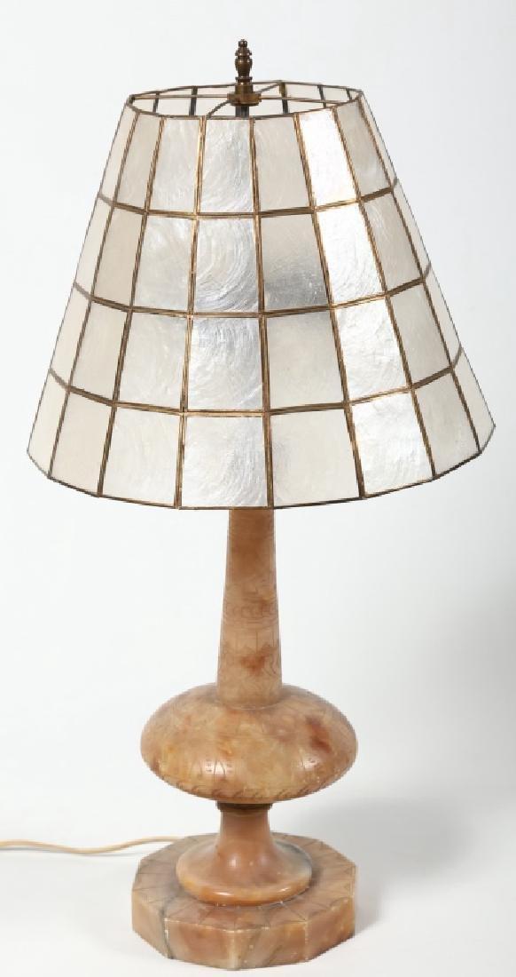 Fine Art Deco Carved Alabaster & Shell Lamp