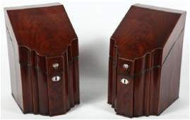 Fine Pair George III Inlaid Mahogany Knife Boxes