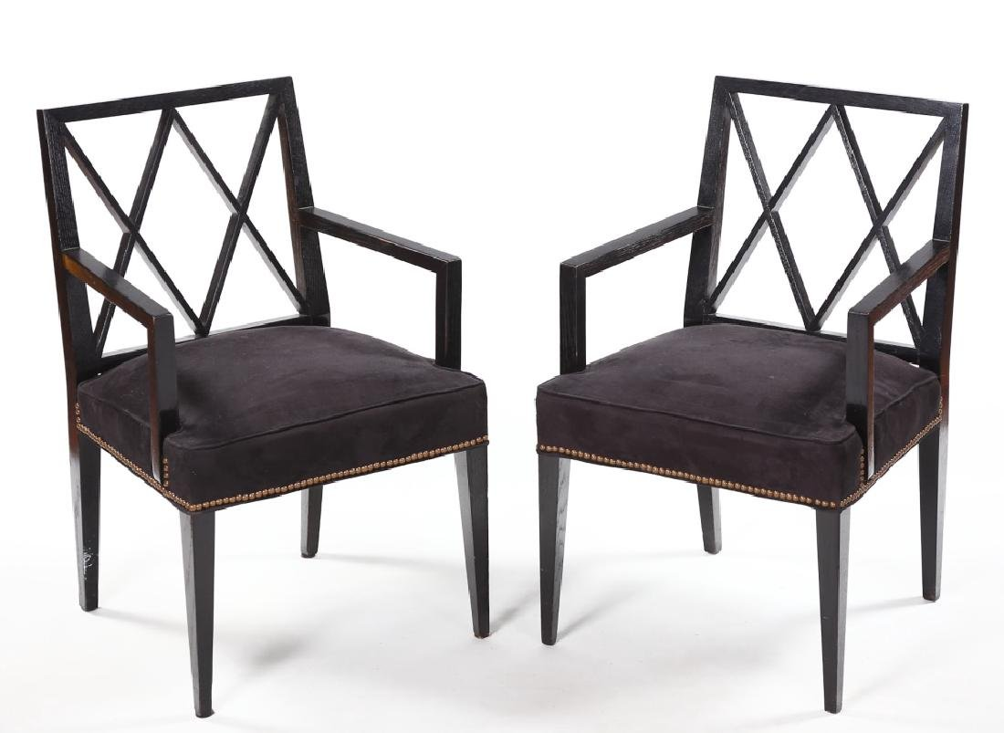 Handsome Pair Art Deco Black-Lacquer Arm Chairs