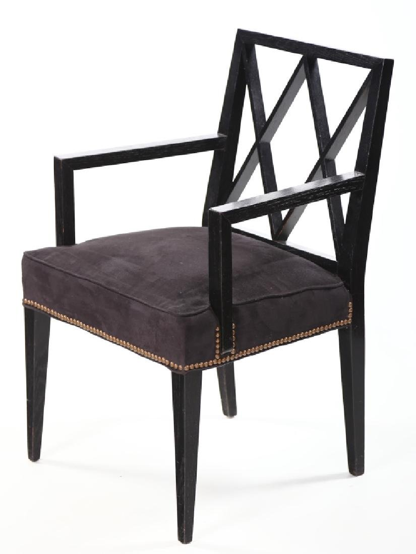 Handsome Pair Art Deco Black-Lacquer Arm Chairs - 3