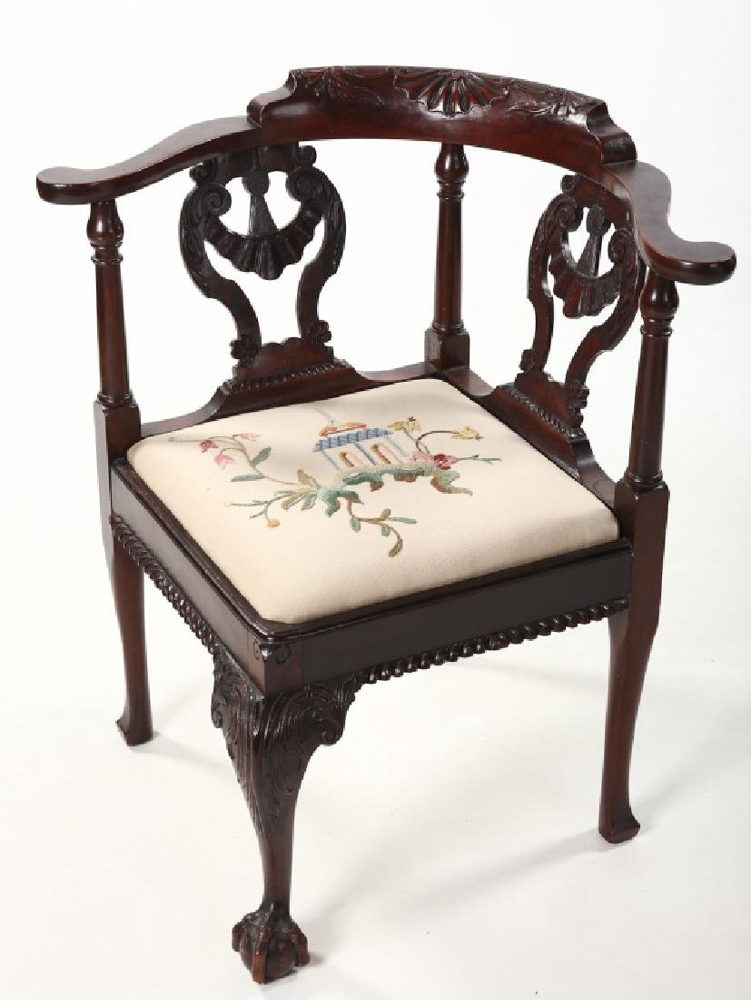 Colonial Revival Carved Mahogany Corner Chair