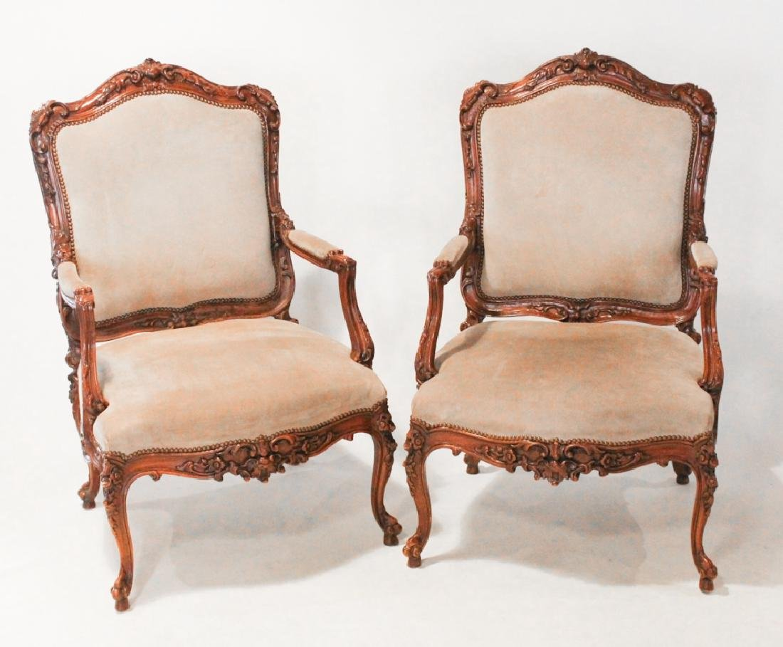Good Pair Continental Carved Fruitwood Arm Chairs