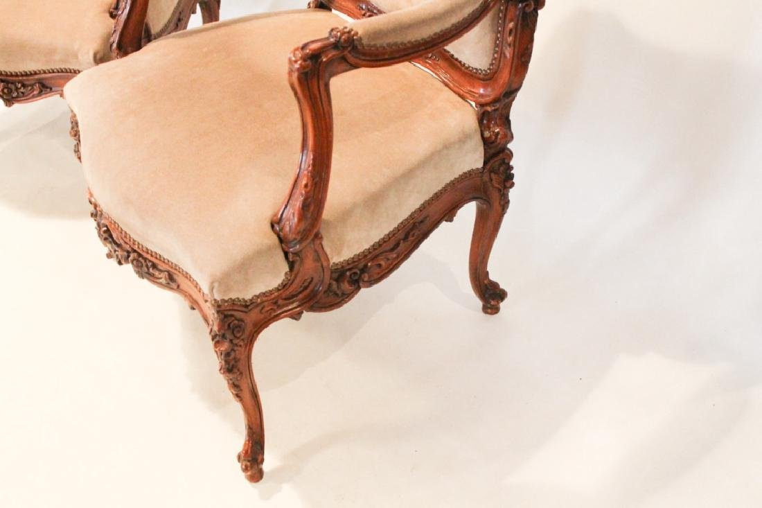 Good Pair Continental Carved Fruitwood Arm Chairs - 3