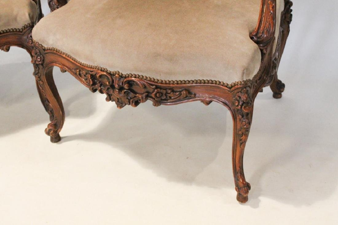 Good Pair Continental Carved Fruitwood Arm Chairs - 4