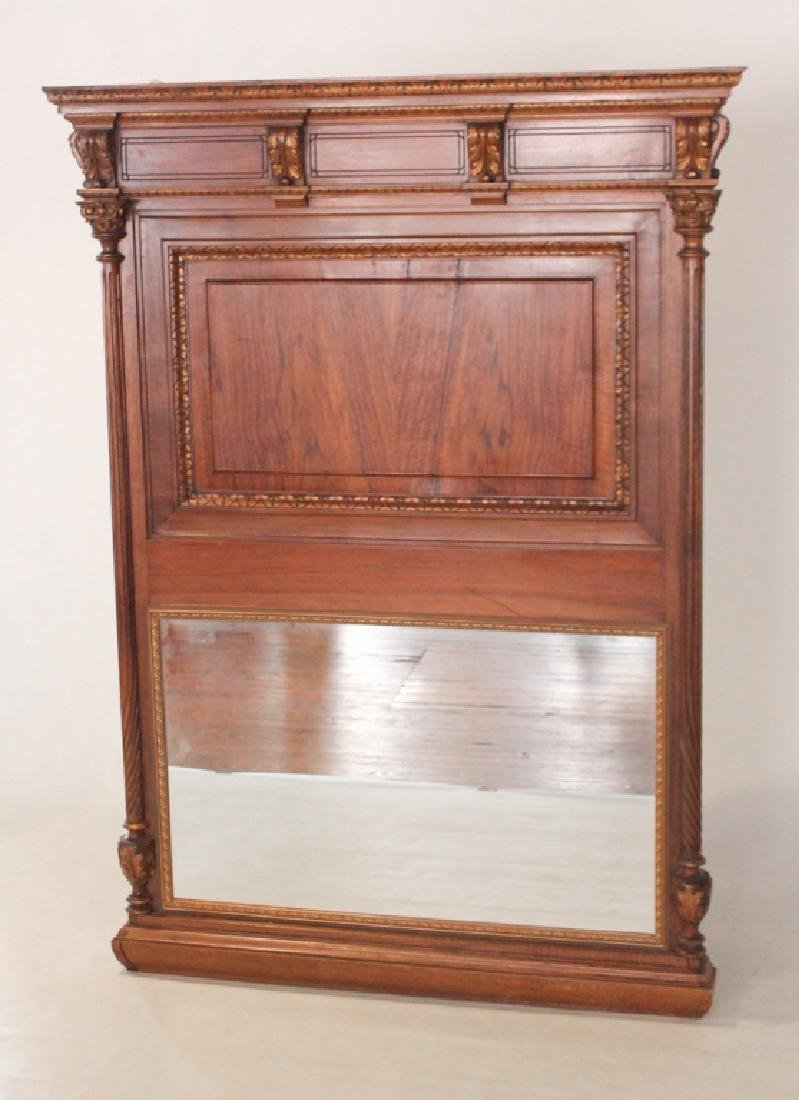 French Carved & Gilt Walnut Over Mantle Mirror