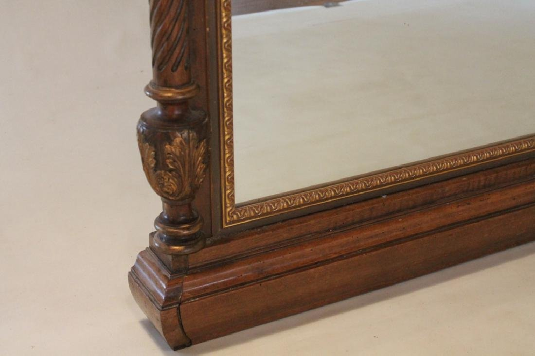 French Carved & Gilt Walnut Over Mantle Mirror - 3