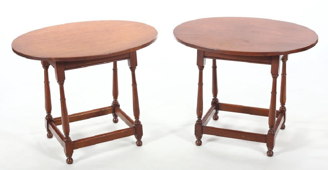 Pair William & Mary Style Walnut Side Table,Drexel