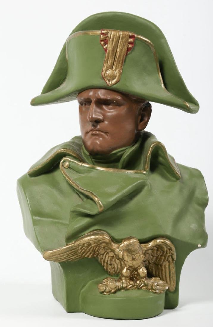 Antique Cold Painted Pottery Bust of Napoleon