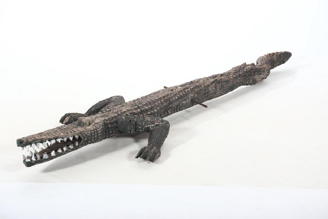 Vintage Life Size Folk Art Carved Alligator Figure