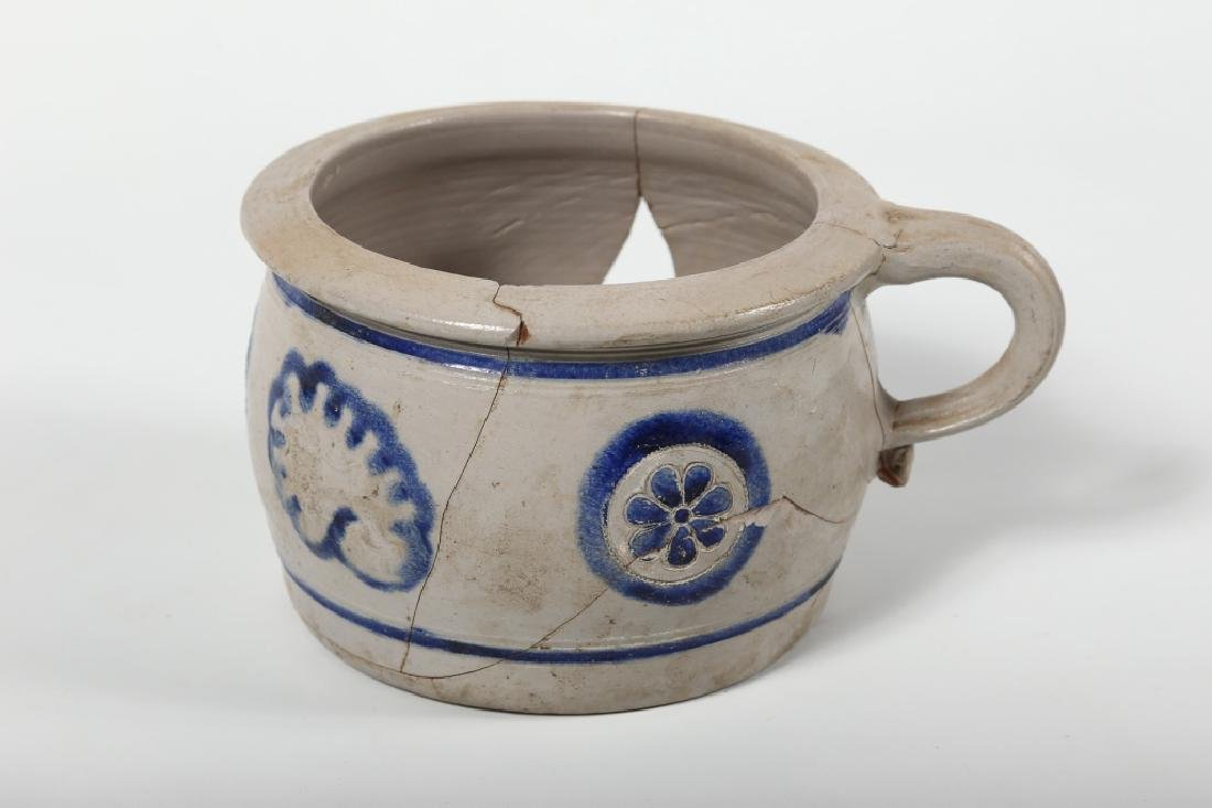 Early Continental Stoneware Decorated Chamber Pot