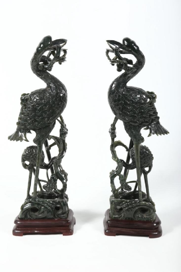 Large Pair Vintage Chinese Spinach Jade Figures