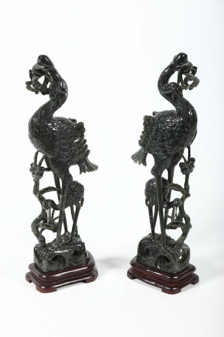 Large Pair Vintage Chinese Spinach Jade Figures - 7