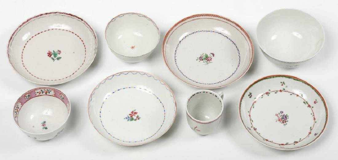 Four Antique Chinese Export Porcelain Cups & Sauce