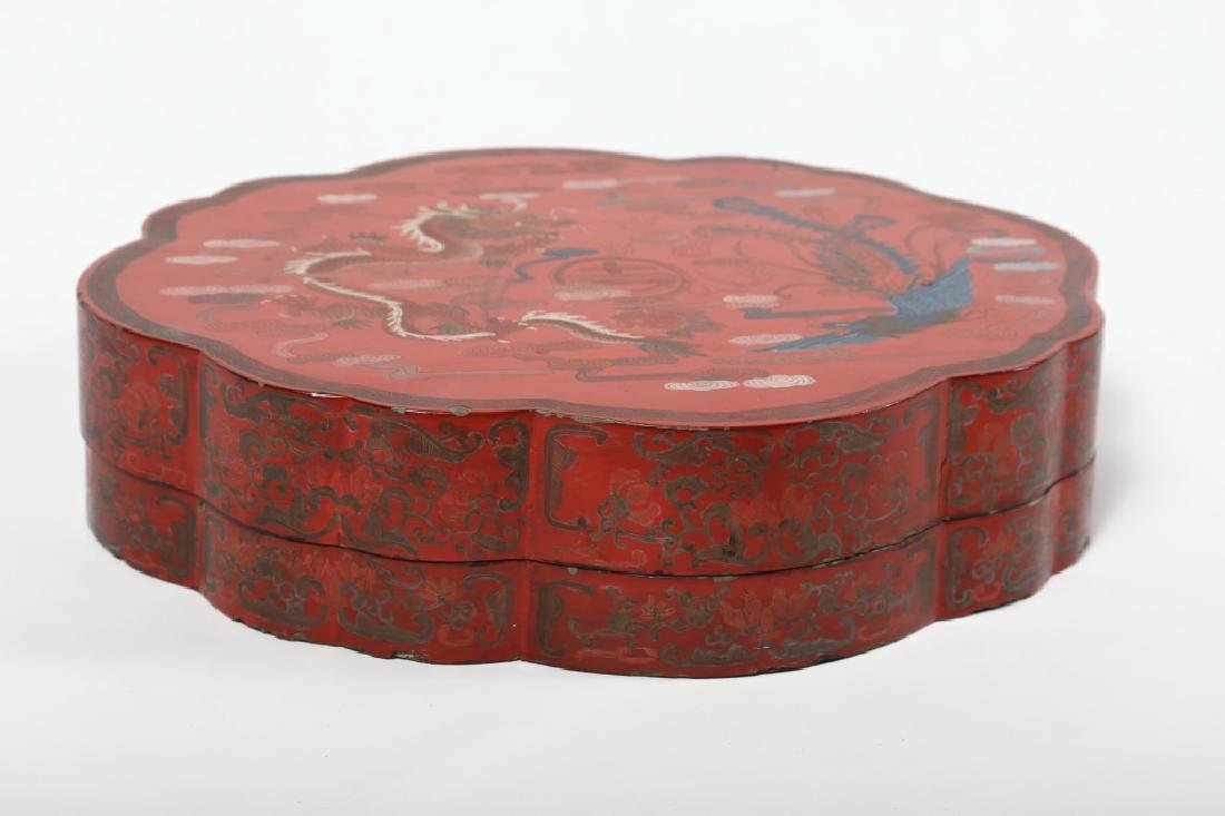 Antique Chinese Red Lacquer Box - 3