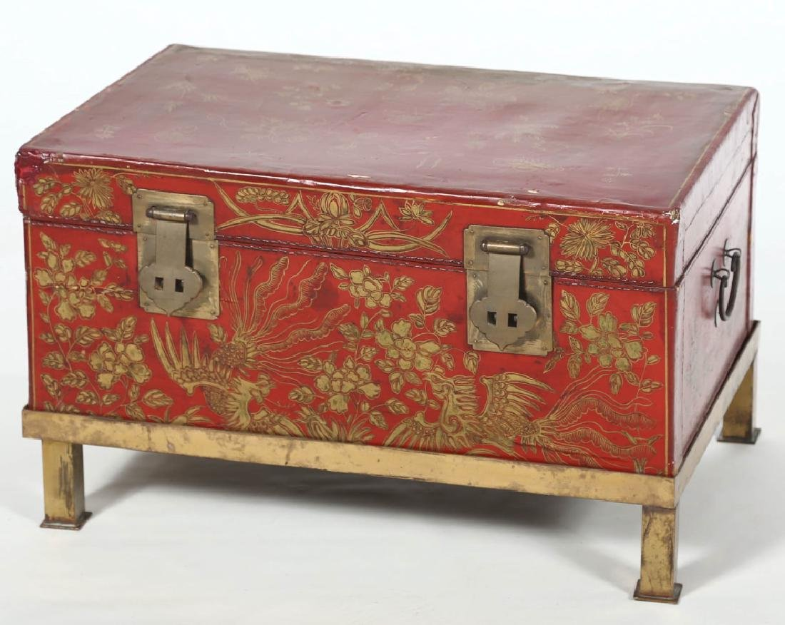Antique Chinese Lacquered Leather Box on Stand