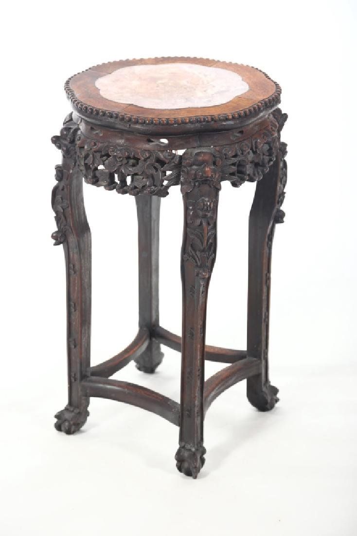 Antique Chinese Carved Hardwood Marble Top Stand