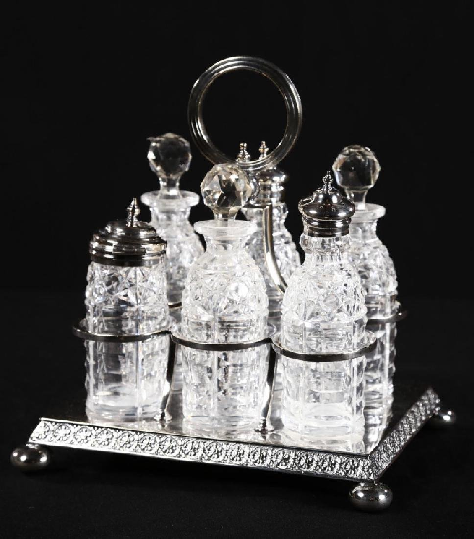 Fine Regency Silver Plate & Crystal Crewet Set