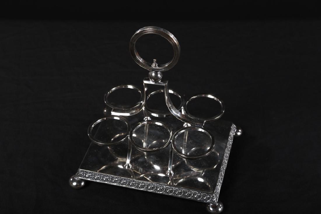 Fine Regency Silver Plate & Crystal Crewet Set - 3