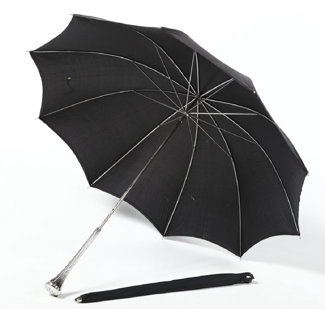 Antique Victorian Sterling Handle Umbrella