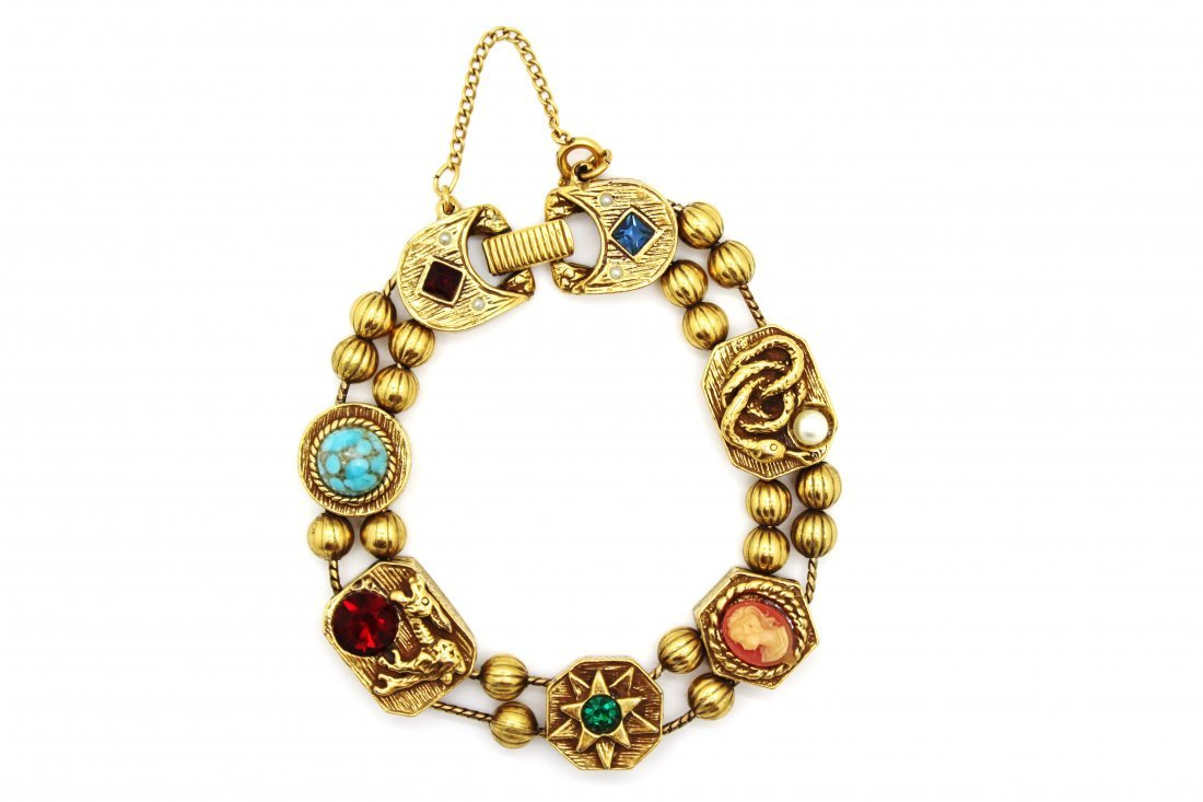 Goldette Gold Tone Slider Charm Bracelet