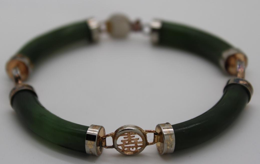 4: Jade & Silver Tone Oriental Link Bracelet