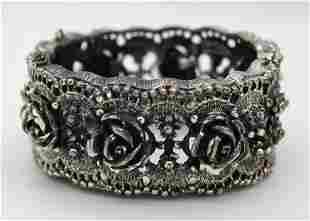 VintageTortolani Rose Pattern Clamper Bracelet