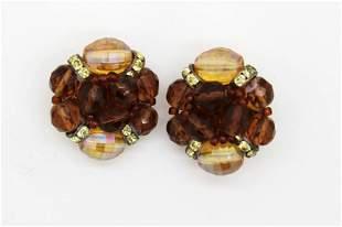 Schiaparelli Brown Crystal & Rhinestone Clip Earring