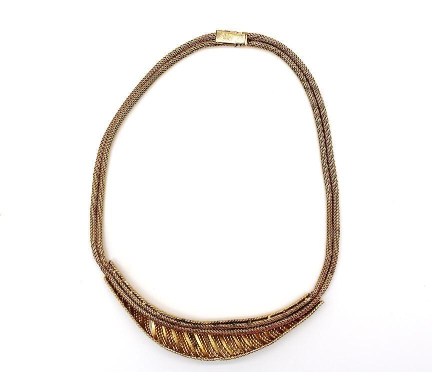 11: Vintage Grosse Germany 1964 Goldtone Mesh Necklace - 2