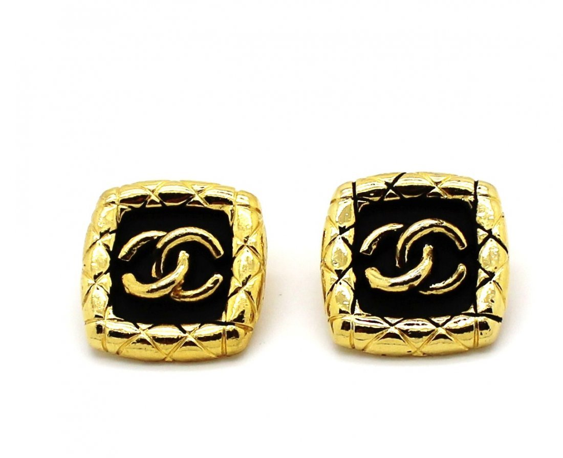 16: Vintage Chanel Gold Quilted Logo Earrings