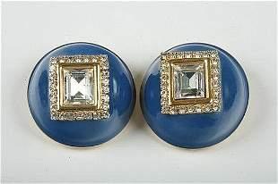 Vintage Valentino Large Blue Enamel Clip Earrings