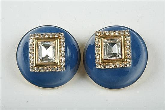 17: Vintage Valentino Large Blue Enamel Clip Earrings