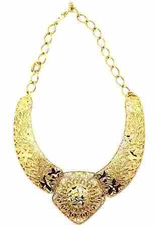Vintage Avon Barrera Gold Filigree Bib Collar Necklace