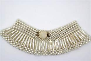 Vintage Hong Kong Faux Pearl Collar Necklace