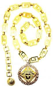 85: Rare Vintage Versace Double Medusa Chain Necklace