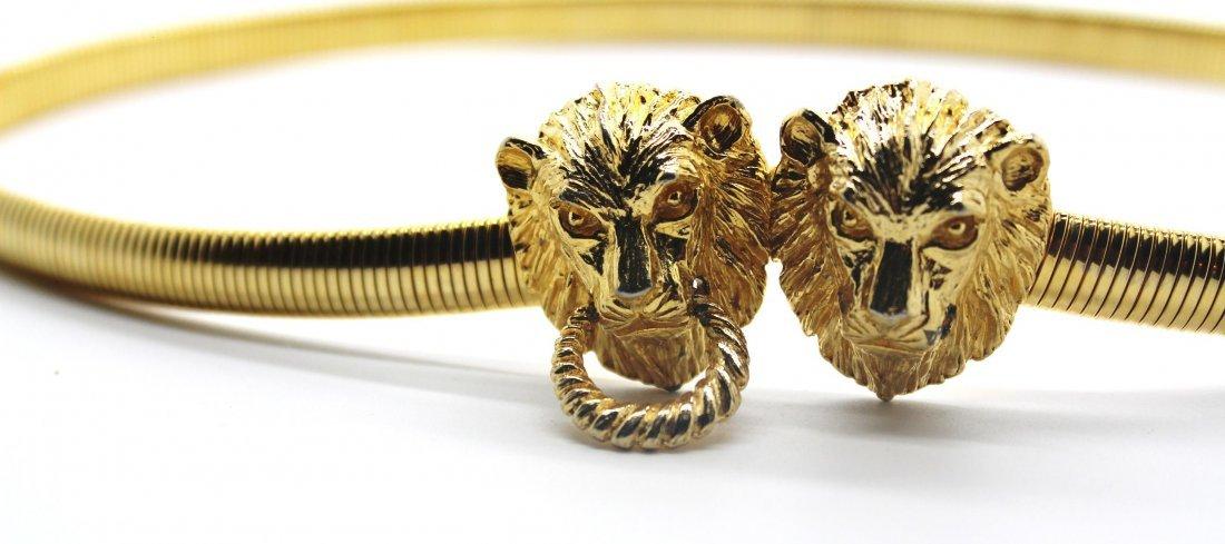 1: Vintage Mimi Din 1975 Gold Lion Slinky Stretch Belt