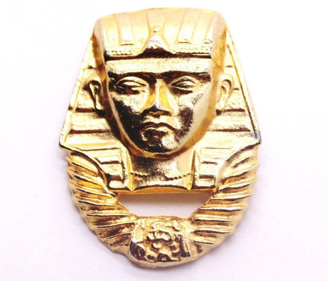 2: Vintage Gold Egyptian Pharaoh Pin Brooch