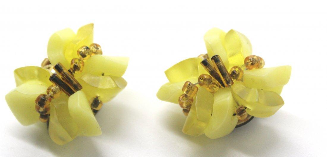 3: Vintage West Germany Yellow Beaded Earrings