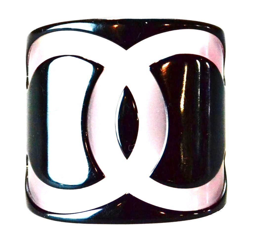 4: Vintage Chanel Bangle Cuff In Pink & Black