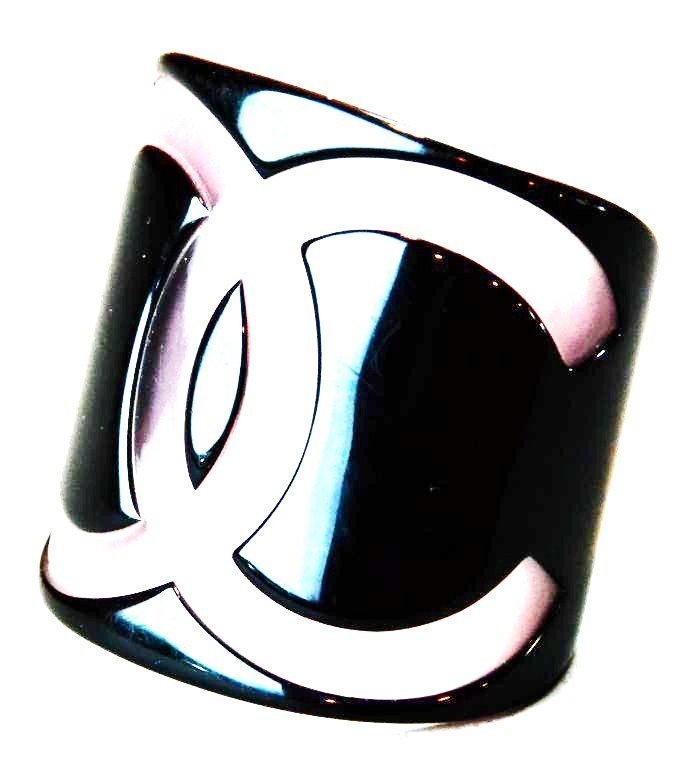 4: Vintage Chanel Bangle Cuff In Pink & Black - 2