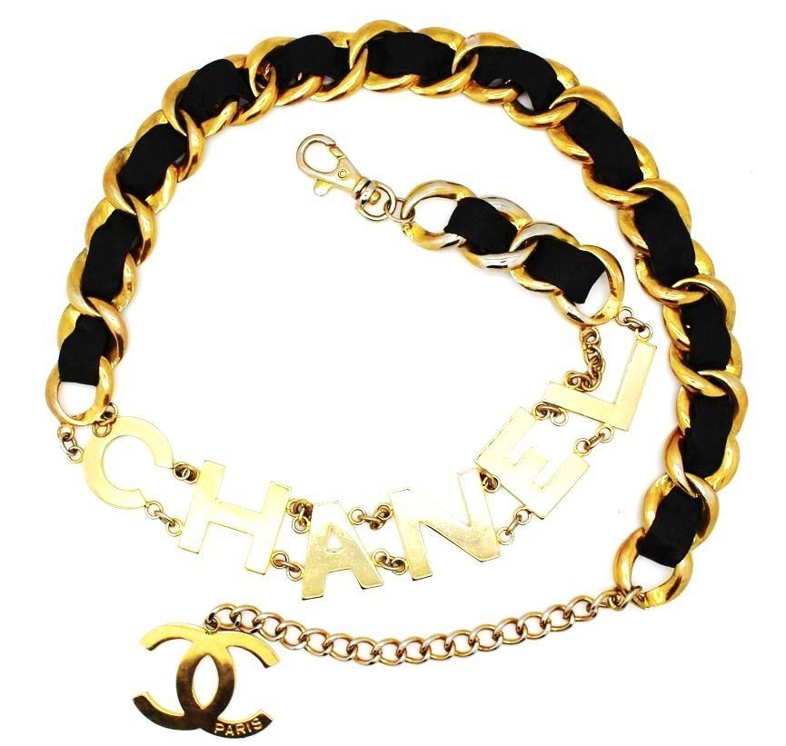 7: Vintage Chanel Leather Gold Plated Chain Belt