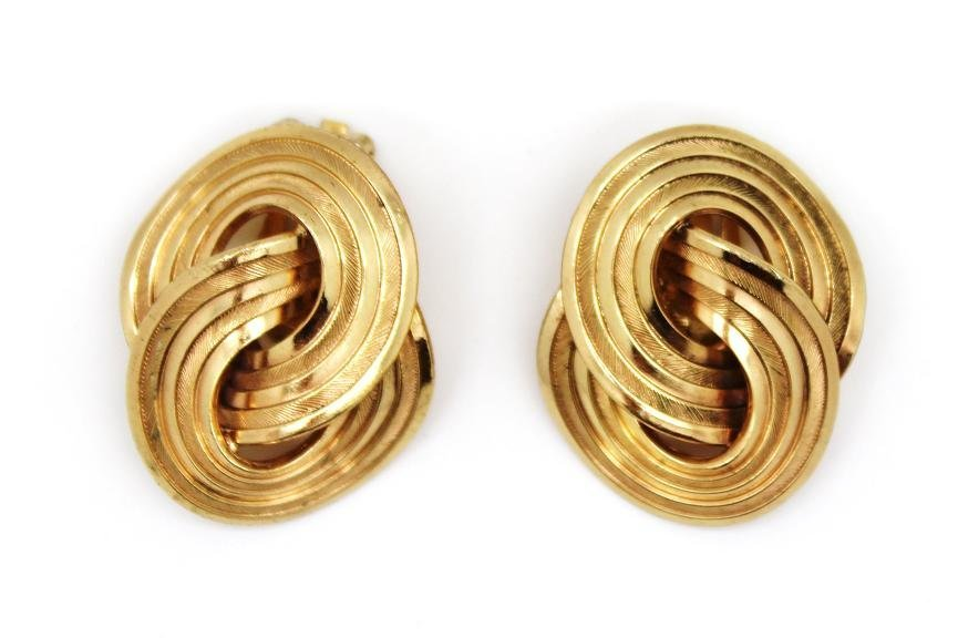 8: Vintage Christian Dior Gold Tone Swirl Clip Earring