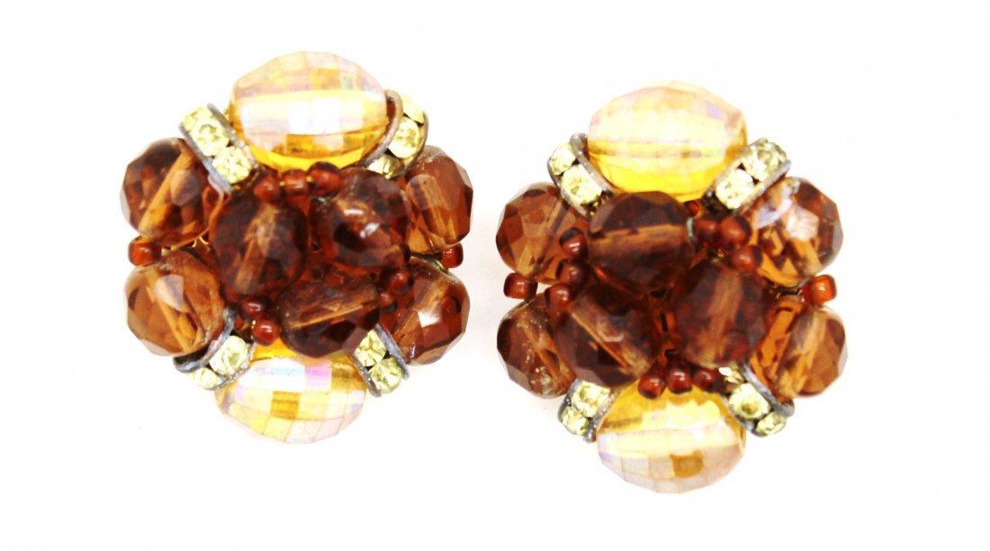 10: Schiaparelli Brown Crystal & Rhinestone Clip Earrin